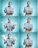 Умный усмехаясь студент при отличная идея держа листы бумаги Стоковые Изображения RF