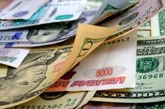 Умозрение валюты доллар рубля Стоковое фото RF