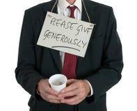 Умолять бизнесмену, безработные над белизной Стоковое Изображение RF