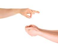Умолять для изолированного жеста рукой помощи Стоковые Изображения RF