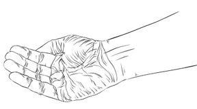 Умоляющ руке, детальные черно-белые линии vector иллюстрация Стоковое Фото