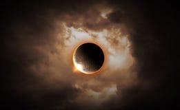 луна затмения лунная над морем стоковое изображение rf