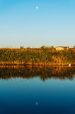 луна озера над поднимать Стоковые Изображения RF