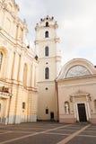 Университет Вильнюса, церковь St. Johns и колокольня Стоковое Изображение