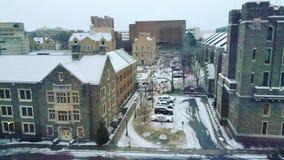 Университет Корнеллаа взгляда снега Стоковые Фотографии RF