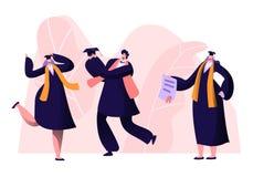 Университет мужчины и женского ученика градуируя, коллеж или школа Жизнерадостные люди в академичных крышке и мантии радуются, пр иллюстрация вектора