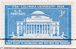 университет 1954 штемпеля почтоваи оплата columbia мы сбор винограда Стоковое фото RF