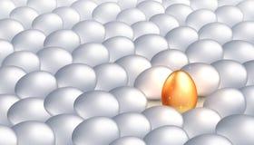 Уникальное золотое яйцо среди обычных белых яя, концепция исключительности, успеха Яркая индивидуальность, успешная личность иллюстрация вектора