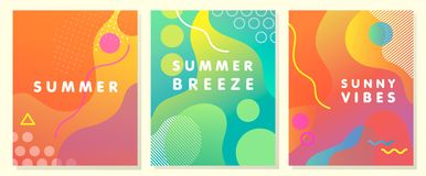 Уникально художнические карточки лета Стоковое Изображение RF