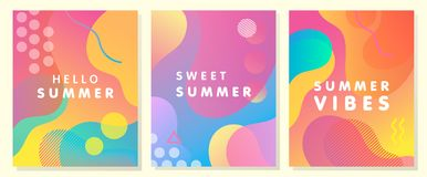 Уникально художнические карточки лета Стоковые Фотографии RF