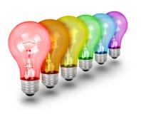 Уникально Lightbulbs идеи на белизне Стоковое Изображение