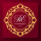 Уникальный грациозный шаблон вензеля свадьбы Золотой орнамент лист Своеобычность и роскошь установьте текст иллюстрация вектора