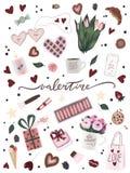 Уникальный плакат с искусством руки Валентайн вычерченным, цветок дня Валентайн, кофейная чашка, сердце, звезда, конфета шоколада иллюстрация штока