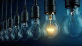 Уникальный, уникальность, новая концепция идеи - накаляя лампа электрической лампочки в ряд ламп иллюстрация вектора
