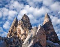 Уникально геологохимические образования с dovecotes в Cappadocia, Turke Стоковое фото RF