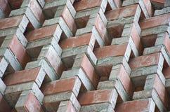 Уникально красная кирпичная стена в фабрике Стоковое Изображение