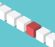 Уникально красный равновеликий куб бесплатная иллюстрация