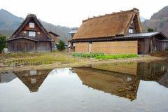 Уникально домашний стиль деревни Ogimachi в Shirakawago Стоковое Изображение RF