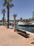 Уникально парк, пляж, лето, плавать в порте Аликанте Стоковое Изображение