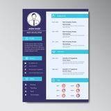 Уникально плоская учебная программа цвета - шаблон дизайна vitae Стоковое Изображение RF