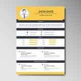 Уникально плоская учебная программа цвета - шаблон дизайна vitae Стоковая Фотография