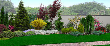 Унифицированный взгляд зацветая сада, 3d представляет Стоковое Изображение