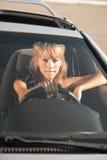 Унылая девушка водителя Стоковые Изображения RF