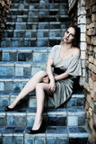 унылая женщина лестниц Стоковое Изображение RF