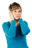 Унылая женщина смотря вверх Стоковые Фотографии RF