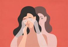 Унылая молодая женщина с пониженной головой и ее призрачным двойным положением позади и заволакивание она глаза с руками Концепци иллюстрация вектора