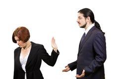 Унылая выжимк коммерсантки, который нужно слушать бизнесмен стоковая фотография rf