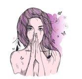 Унылая женщина молит Стоковое Изображение RF