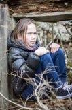 Унылая или сердитая маленькая девочка Стоковая Фотография