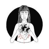 Унылая и страдая потеря девушки влюбленности женщины, концепция разбитого сердца иллюстратор иллюстрации руки чертежа угля щетки  Стоковые Фотографии RF