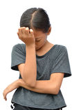 Унылая маленькая азиатская девушка стоковое изображение rf