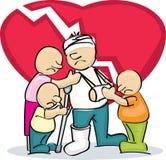 Унылая семья с раненым отцом Стоковая Фотография RF