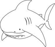 Унылая смотря большая белая акула Стоковые Фото
