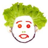 Унылая удивленная человеческая голова сделанная овощей Стоковая Фотография RF