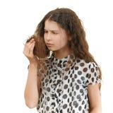 Унылая школьница несчастная с ей Стоковое Фото