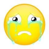 Унылое плача emoji Плохая эмоция Плача смайлик Значок улыбки иллюстрации вектора стоковое изображение