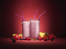 Унылые smooties плодоовощ с плодоовощ служили в стеклах Стоковое Изображение