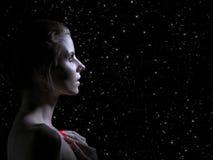 Унылый женский профиль Стоковая Фотография RF