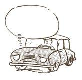 Унылый и утомленный автомобиль иллюстрация штока