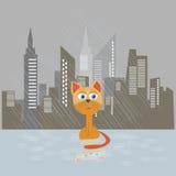Унылый котенок на иллюстрации вектора дождя Стоковая Фотография