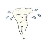 Унылый, несчастный и плача нездоровый зуб с дефектом бесплатная иллюстрация