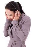 Унылый, несчастный штат обслуживания клиента с шлемофоном стоковое фото rf