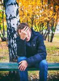 Унылый подросток напольный Стоковое Изображение