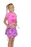 Унылый ребенок измеряя ее живот Стоковые Изображения RF