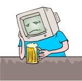 Унылый ретро пьяница компьютера иллюстрация вектора
