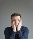 Унылый человек в нажатии Стоковая Фотография